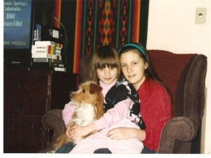 Sisters, about 9 and 4 years old, and our dog.