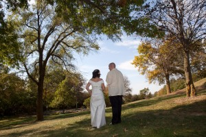 Us, walking toward the horizon on our wedding day.