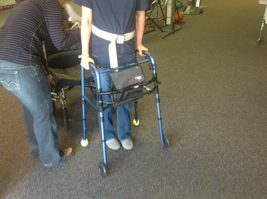 Me and the walker, making progress at my first PT appointment