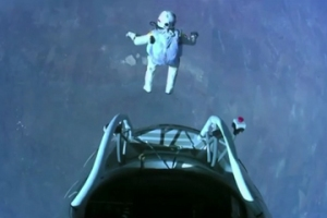 Felix Baumgartner sets world records skydiving from the edge of the stratosphere.