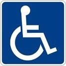 wheelchair accessible logo - blue with white image of stick-person in wheelchair