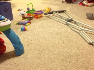 His crutches and some of the Little Guy's toys.