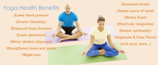 Yoga Health Foundation image  of two people doing yoga and a list of the health benefits of yoga