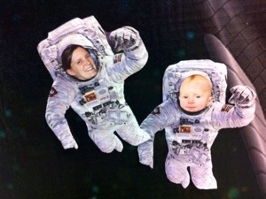 Me and the Little Guy, with our faces pasted in a picture of two astronauts in space