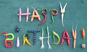 Happy birthday spelled in veggies