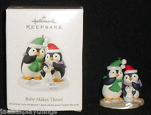 Baby Makes Three Hallmark ornament, penguins.